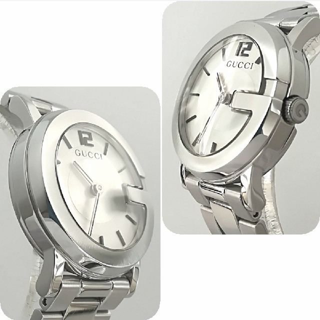 Gucci(グッチ)の綺麗 グッチ 新品仕上げ 白文字盤 レディース ウォッチ腕時計 ブレス 極美品 レディースのファッション小物(腕時計)の商品写真