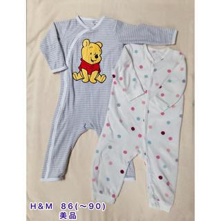 エイチアンドエム(H&M)のH&M  フリースパジャマ2枚セット 86(〜90) 美品(パジャマ)