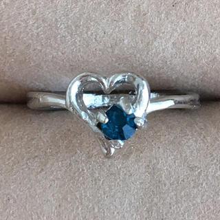 (49)サファイアカラーの一粒ビジューとハートモチーフリング シルバー(リング(指輪))