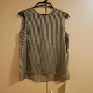 オペークドットクリップ(OPAQUE.CLIP)のOPAQUE.CLIP シアーストライプブラウス カラー:タバコブラウン(Tシャツ(半袖/袖なし))