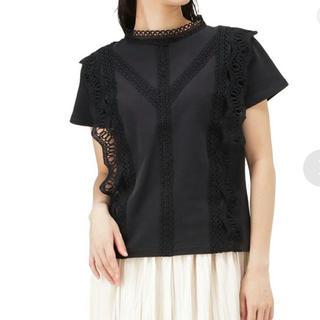 マックハウス(Mac-House)のNAVY マックハウス レース付き Tシャツ ブラック(Tシャツ(半袖/袖なし))