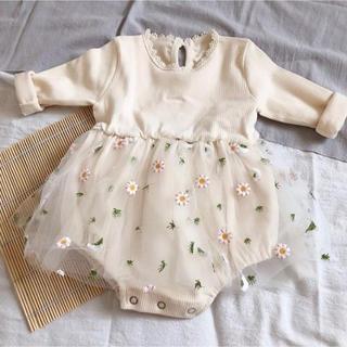 ワンピース ロンパース チュール 花柄 韓国 子供服