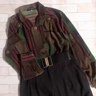 グリモワール(Grimoire)のブラウン グリーン系 アート レトロ ヴィンテージ 古着 柄シャツ(シャツ/ブラウス(長袖/七分))