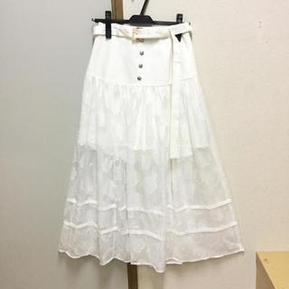 レディアゼル(REDYAZEL)の定価10879円 フラワージャガードロングスカート 白S〜M(ロングスカート)