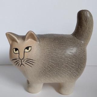 Lisa Larson - リサ・ラーソン グレーのモア ストライプなし 猫の置物