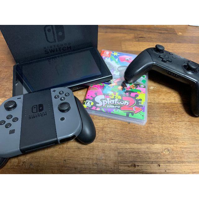 Nintendo Switch(ニンテンドースイッチ)のNintendo Switch 本体セット・スプラトゥーン2・プロコン・箱有り エンタメ/ホビーのゲームソフト/ゲーム機本体(家庭用ゲーム機本体)の商品写真