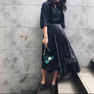 Ameri VINTAGE - AMERI PLEATS DOCKING LACE DRESS Sサイズ