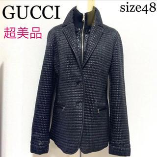 グッチ(Gucci)の【超美品】GUCCI 2wayジャケット48 黒×シルバー金具(テーラードジャケット)