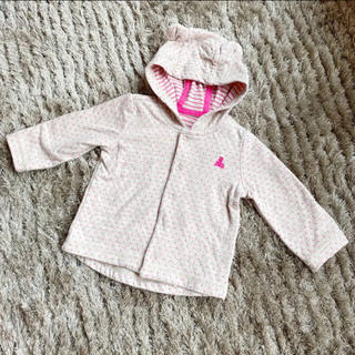 ベビーギャップ(babyGAP)のベビーギャップ アウター パーカー 耳付き 女の子 70 ピンク ドット 水玉(カーディガン/ボレロ)