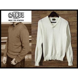 キャリー(CALEE)の定価2.6万 CALEE キャリー 16SS Vネック ニット セーター M 白(ニット/セーター)