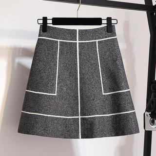 eimy istoire - 【残り1点】ラインデザインニット素材スカート(ブラック)