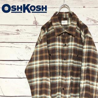 オシュコシュ(OshKosh)のOSHKOSH オシュコシュ ダブルポケット チェックネルシャツ ブラウン XL(シャツ)
