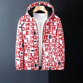 MONCLER - モンクレール シャツ全体ロゴ赤ジャケット