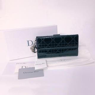 クリスチャンディオール(Christian Dior)のディオール 長財布 レディディオール エナメル ブラック(財布)