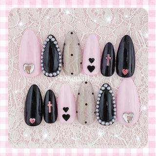量産型 ♡ 黒 ピンク ♡ ゆめかわ ♡ 地雷 ♡ シースルー ♡ ネイルチップ
