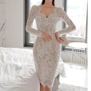 Lipsy - 総レースデザインワンピース ドレス(ホワイト)