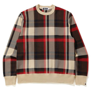 アベイシングエイプ(A BATHING APE)のA BATHING APE CHECK BAPE WIDE CREWNECK (スウェット)