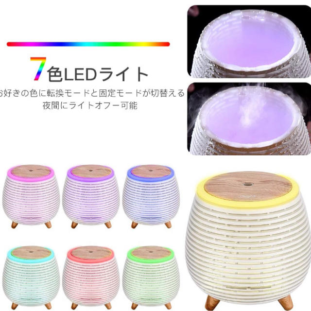 アロマディフューザー USB 小型 超音波式 加湿器 7色 led(ホワイト) スマホ/家電/カメラの生活家電(加湿器/除湿機)の商品写真