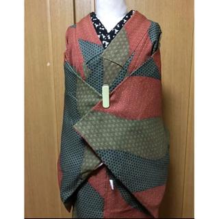 未使用!洗える着物☆袷☆小紋/レトロ古典柄の紬風お着物
