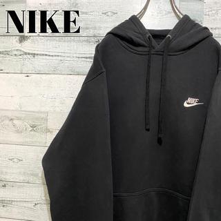 NIKE - 【人気】ナイキ NIKE☆刺繍ワンポイントロゴ ブラック パーカー プルオーバー