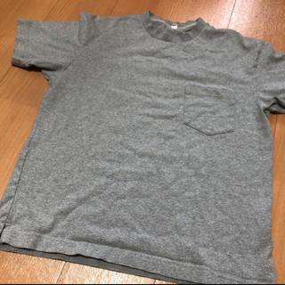 UNIQLO - ユニクロ 厚手 ポケットつきTシャツ グレー