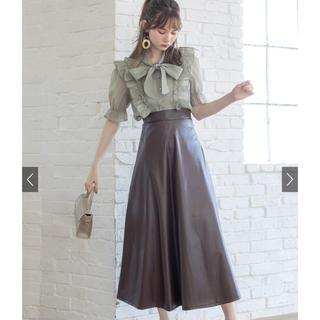 GRL - GRL フェイクレザーフレアスカート ブラウン Sサイズ グレイル