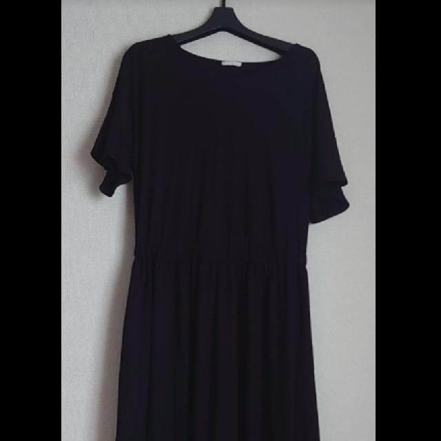 GU(ジーユー)のGU ウエストマークワンピース(5分袖)Lサイズ ブラック レディースのワンピース(ロングワンピース/マキシワンピース)の商品写真