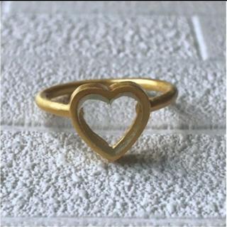 クリアクオーツ 水晶ハートゴールドリング9号9.5号(リング(指輪))