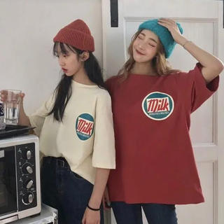 最終セール!スポーツコーデ 大人気◎オーバーサイズ 赤 韓国 ミルクTシャツ