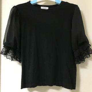 dholic - 袖レースポイントTシャツ 黒