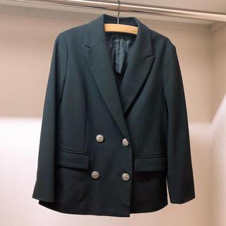 スーツカンパニー(THE SUIT COMPANY)のスーツカンパニー レディース ジャケット ダブル 7分袖 ウォッシャブル 黒(スーツ)
