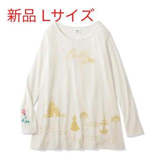 Disney - 美女と野獣 ベル 裾フレア 長袖チュニック Tシャツ ロンT L 薔薇