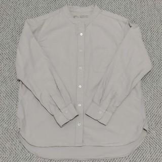 MUJI (無印良品) - 無印良品 新疆綿洗いざらしオックススタンドカラーシャツ 婦人L・ライトグレー