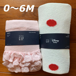 ベビーギャップ(babyGAP)の新品☆babygap☆ミニー柄ホワイト&フリル付きピンク☆60㎝(靴下/タイツ)