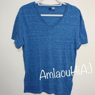エイチアンドエム(H&M)のH&M ヘザー ブルー Vネック 半袖 Tシャツ(Tシャツ/カットソー(半袖/袖なし))