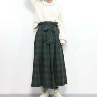 ドットアンドストライプスチャイルドウーマン(Dot&Stripes CHILDWOMAN)のネルバッファローチェック  ウエストリボンタックスカート(ロングスカート)