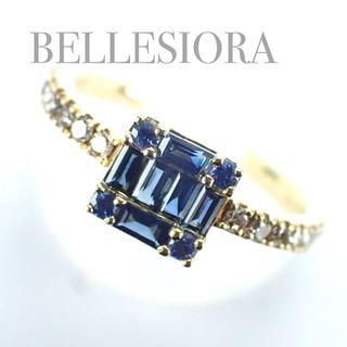 agete - ベルシオラ BELLESIORA K18YG サファイア ダイヤ リング