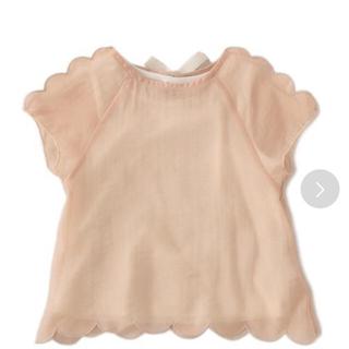 プティマイン(petit main)の新品未使用⭐︎petit  main 透けスカラップTシャツ×タンクトップ(Tシャツ/カットソー)