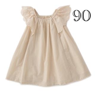 プティマイン(petit main)の袖スカラップレース切り替えワンピース 90(ワンピース)