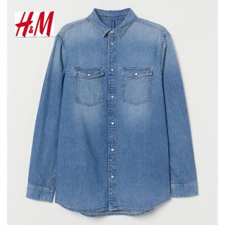 エイチアンドエム(H&M)の新品 H&M ウォッシュ加工 デニムシャツ Lサイズ(シャツ)