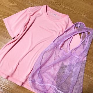 ハニーズ(HONEYS)のサーモンピンクシンプル夢かわいいロゴTシャツメッシュエコバッグパステルカラー(Tシャツ(半袖/袖なし))