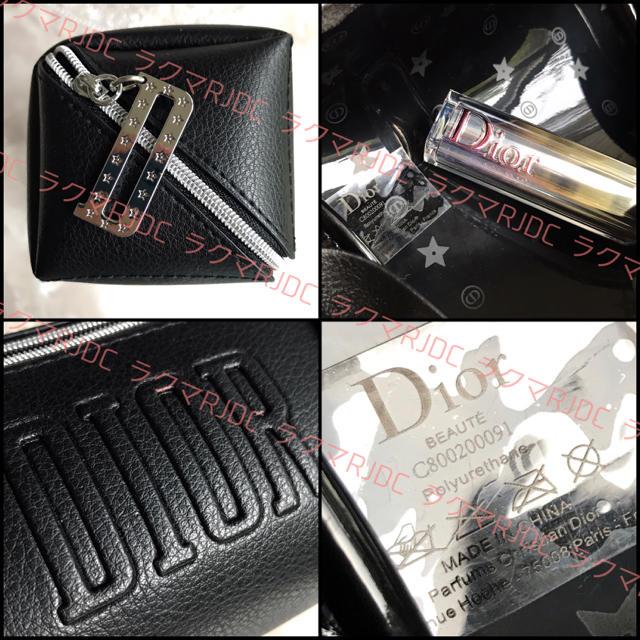 Christian Dior(クリスチャンディオール)の【新品未使用】ディオール レザー調 スクウェアポーチ 海外限定 ブラック 非売品 レディースのファッション小物(ポーチ)の商品写真