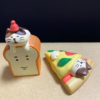 デコレ コンコンブル ピザネコちゃんと食パン猫(置物)