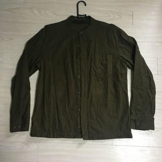 MUJI (無印良品) - 無印良品 ノーカラーシャツ 長袖 カーキー サイズL