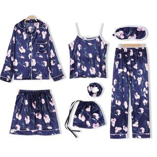 7ピースセット パジャマ 花柄 ホームウェア ルームウェア ブルー uio