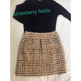 ストロベリーフィールズ(STRAWBERRY-FIELDS)のストロベリーフィールズ ツイードスカート(ひざ丈スカート)