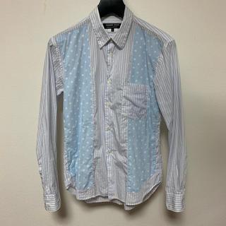 コムデギャルソン(COMME des GARCONS)のコム デ ギャルソン 長袖シャツ 白×青 ドット柄 ストライプ メンズXSサイズ(シャツ)