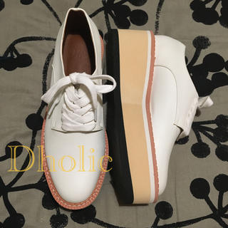 ディーホリック(dholic)の【新品】dholic 厚底シューズ ホワイト(Size 24.0)(ローファー/革靴)