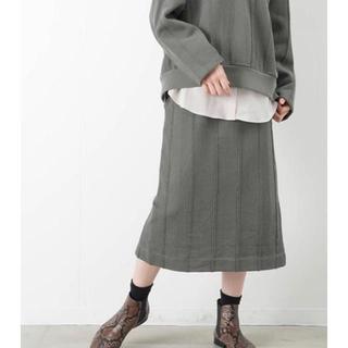 ルカ(LUCA)のmunich<新品>2wayコットンヘリンボーンスリットタイトスカート カーキ(ロングスカート)
