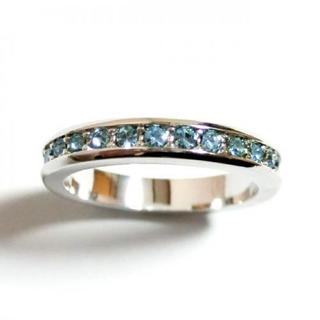 9号 フルエタニティ スワロフスキークリスタル アクアマリン シルバーリング(リング(指輪))